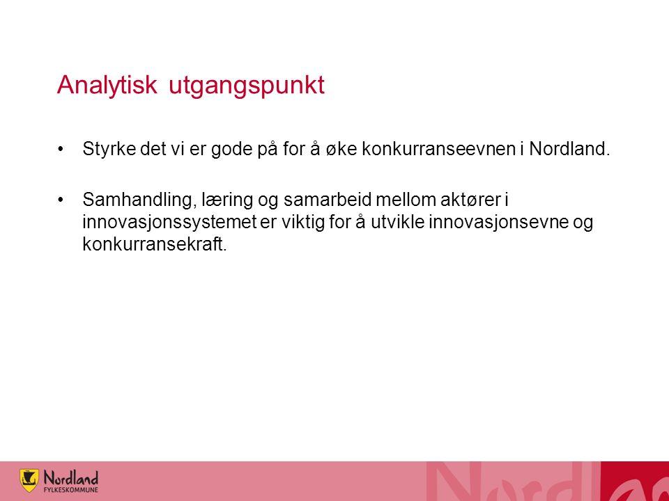 Analytisk utgangspunkt Styrke det vi er gode på for å øke konkurranseevnen i Nordland.