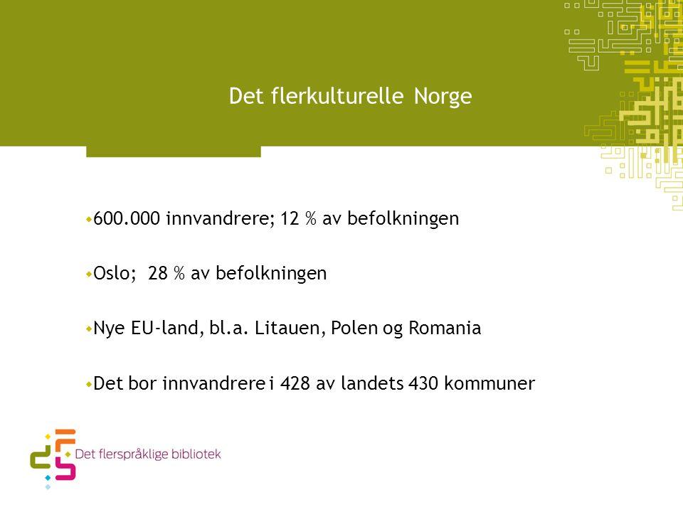 Det flerkulturelle Norge  600.000 innvandrere; 12 % av befolkningen  Oslo; 28 % av befolkningen  Nye EU-land, bl.a.