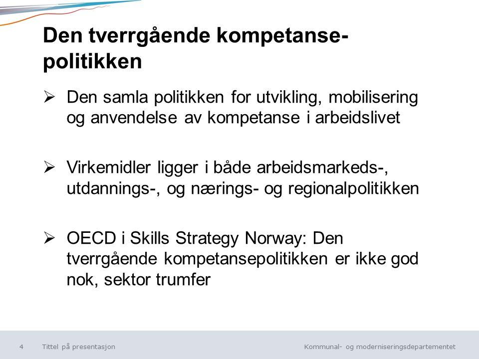 Kommunal- og moderniseringsdepartementet Norsk mal: Tekst uten kulepunkt Den tverrgående kompetanse- politikken  Den samla politikken for utvikling, mobilisering og anvendelse av kompetanse i arbeidslivet  Virkemidler ligger i både arbeidsmarkeds-, utdannings-, og nærings- og regionalpolitikken  OECD i Skills Strategy Norway: Den tverrgående kompetansepolitikken er ikke god nok, sektor trumfer Tittel på presentasjon4
