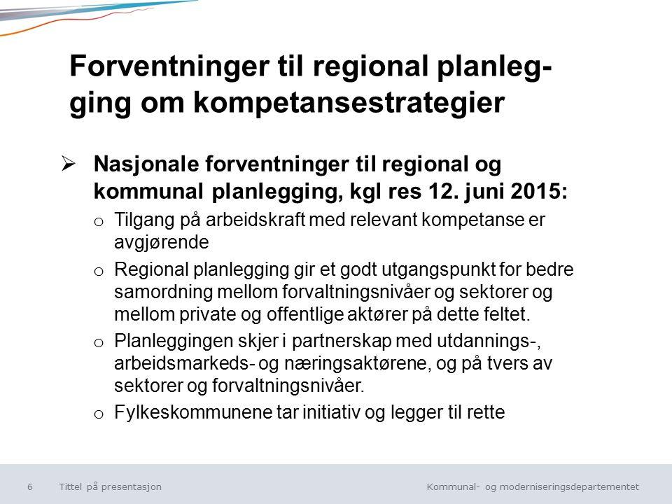 Kommunal- og moderniseringsdepartementet Norsk mal: Tekst uten kulepunkt  Nasjonale forventninger til regional og kommunal planlegging, kgl res 12.
