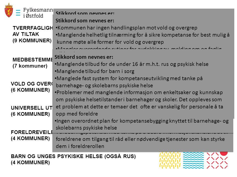 BARN OG UNGES PSYKISKE HELSE (OGSÅ RUS) (4 KOMMUNER) FORELDREVEILEDNING – STYRKE FORELDRE I FORELDREROLLEN (4 KOMMUNER) UNIVERSELL UTFORMING – TILPASNING AV UTEOMRÅDER (6 KOMMUNER) VOLD OG OVERGREP MOT BARN (6 KOMMUNER) MEDBESTEMMELSE OG INVOLEVERING (7 kommuner) TVERRFAGLIGHET, KOMPETANSE PÅ TVERRFAGLIGHET OG KVALITESSIKRING AV TILTAK (9 KOMMUNER) Stikkord som nevnes er: Kompetanse på tverrfagligarbeid.