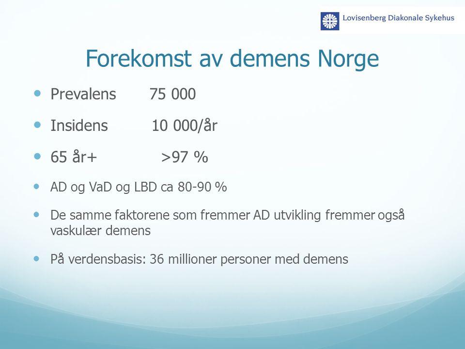 Forekomst av demens Norge Prevalens 75 000 Insidens 10 000/år 65 år+ >97 % AD og VaD og LBD ca 80-90 % De samme faktorene som fremmer AD utvikling fre