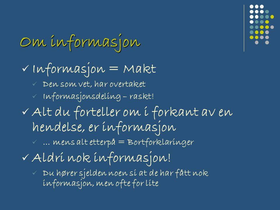 Om informasjon Informasjon = Makt Den som vet, har overtaket Informasjonsdeling – raskt.