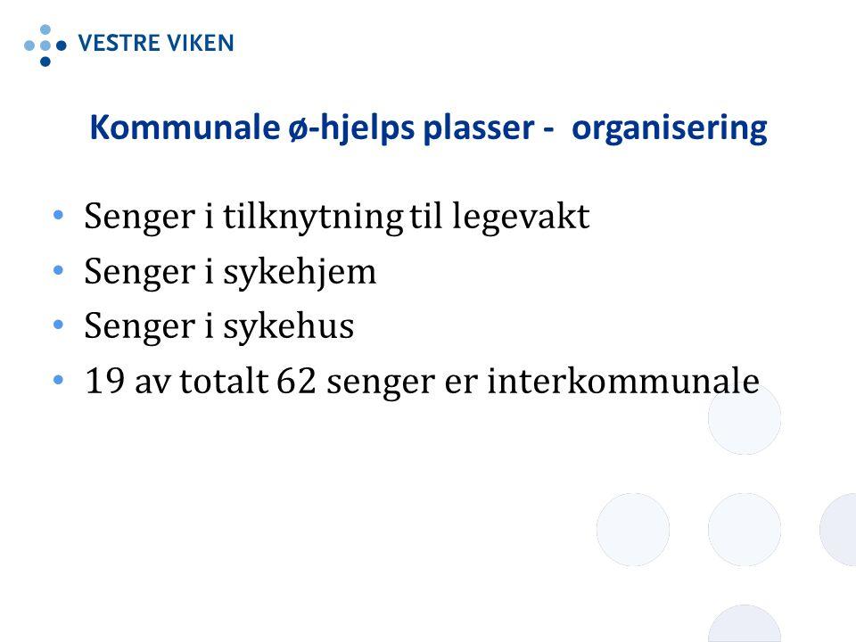 Kommunale ø-hjelps plasser - organisering Senger i tilknytning til legevakt Senger i sykehjem Senger i sykehus 19 av totalt 62 senger er interkommunale