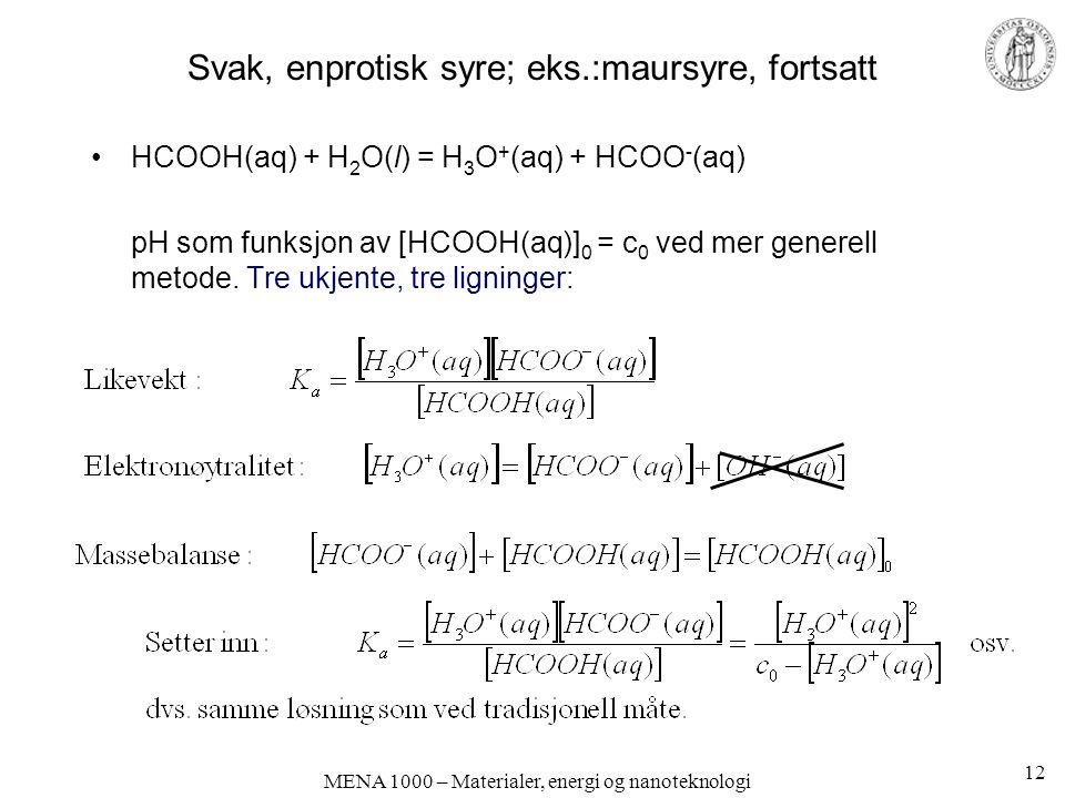 MENA 1000 – Materialer, energi og nanoteknologi Svak, enprotisk syre; eks.:maursyre, fortsatt HCOOH(aq) + H 2 O(l) = H 3 O + (aq) + HCOO - (aq) pH som funksjon av [HCOOH(aq)] 0 = c 0 ved mer generell metode.