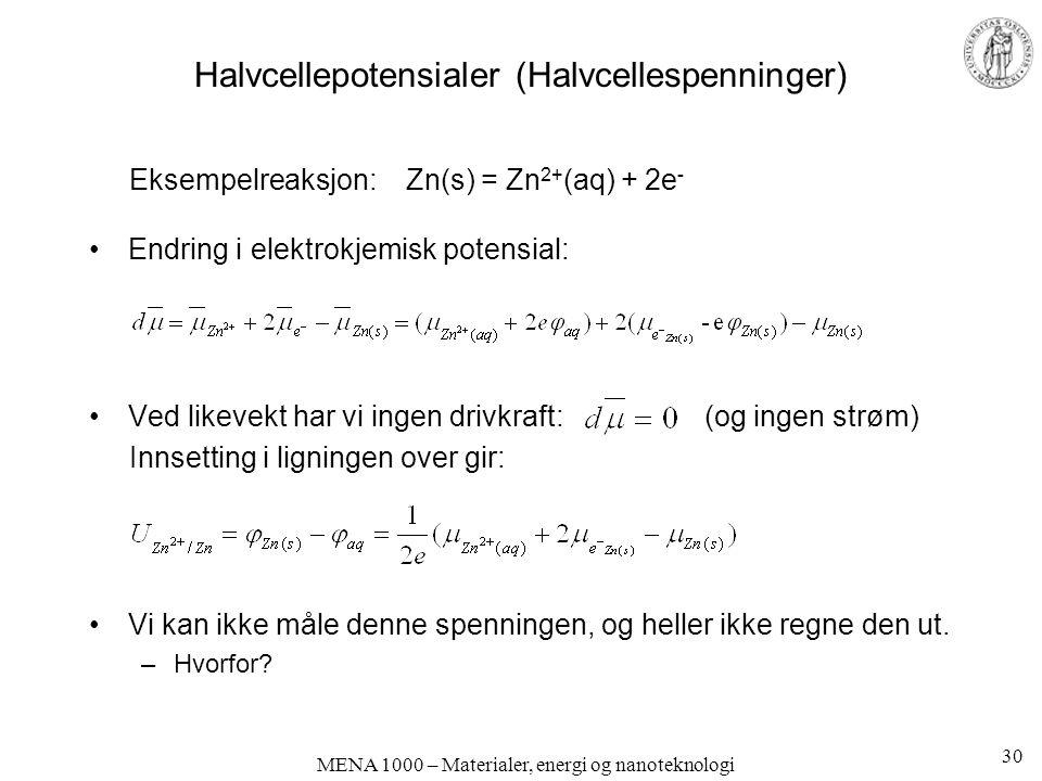 Halvcellepotensialer (Halvcellespenninger) Eksempelreaksjon: Zn(s) = Zn 2+ (aq) + 2e - Endring i elektrokjemisk potensial: Ved likevekt har vi ingen drivkraft: (og ingen strøm) Innsetting i ligningen over gir: Vi kan ikke måle denne spenningen, og heller ikke regne den ut.