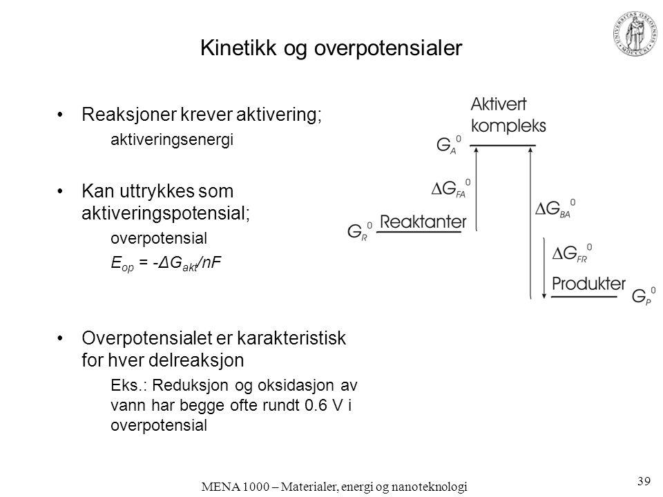 MENA 1000 – Materialer, energi og nanoteknologi Kinetikk og overpotensialer Reaksjoner krever aktivering; aktiveringsenergi Kan uttrykkes som aktiveringspotensial; overpotensial E op = -ΔG akt /nF Overpotensialet er karakteristisk for hver delreaksjon Eks.: Reduksjon og oksidasjon av vann har begge ofte rundt 0.6 V i overpotensial 39