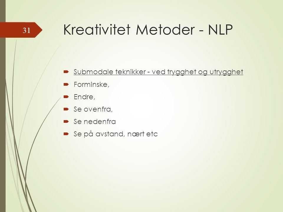 Kreativitet Metoder - NLP  Submodale teknikker - ved trygghet og utrygghet  Forminske,  Endre,  Se ovenfra,  Se nedenfra  Se på avstand, nært etc 31