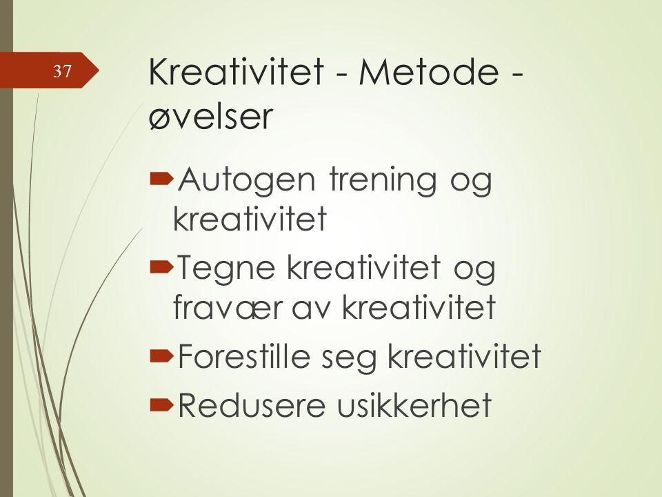 Kreativitet - Metode - øvelser  Autogen trening og kreativitet  Tegne kreativitet og fravær av kreativitet  Forestille seg kreativitet  Redusere usikkerhet 37