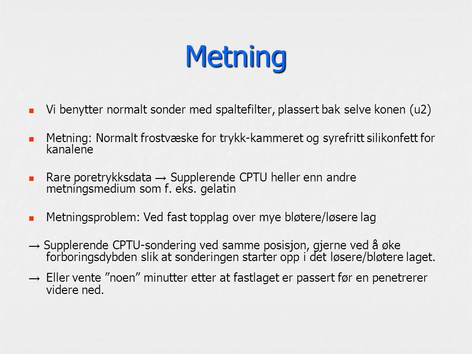 Metning Vi benytter normalt sonder med spaltefilter, plassert bak selve konen (u2) Vi benytter normalt sonder med spaltefilter, plassert bak selve konen (u2) Metning: Normalt frostvæske for trykk-kammeret og syrefritt silikonfett for kanalene Metning: Normalt frostvæske for trykk-kammeret og syrefritt silikonfett for kanalene Rare poretrykksdata → Supplerende CPTU heller enn andre metningsmedium som f.