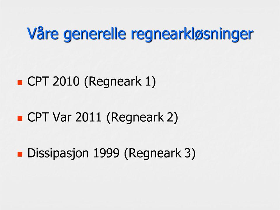 Våre generelle regnearkløsninger CPT 2010 (Regneark 1) CPT 2010 (Regneark 1) CPT Var 2011 (Regneark 2) CPT Var 2011 (Regneark 2) Dissipasjon 1999 (Regneark 3) Dissipasjon 1999 (Regneark 3)