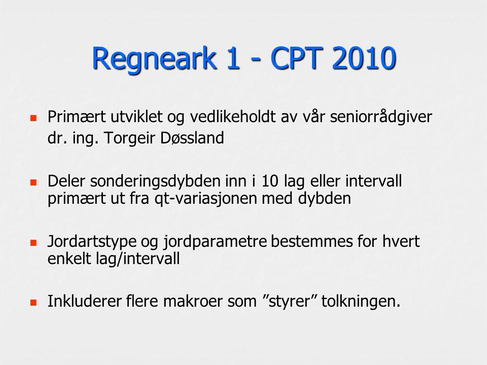 Regneark 1 - CPT 2010 Primært utviklet og vedlikeholdt av vår seniorrådgiver Primært utviklet og vedlikeholdt av vår seniorrådgiver dr. ing. Torgeir D