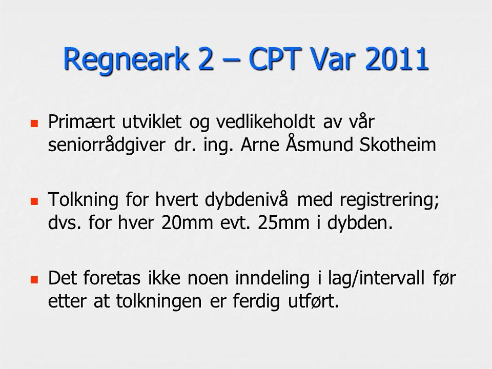 Regneark 2 – CPT Var 2011 Primært utviklet og vedlikeholdt av vår seniorrådgiver dr. ing. Arne Åsmund Skotheim Primært utviklet og vedlikeholdt av vår