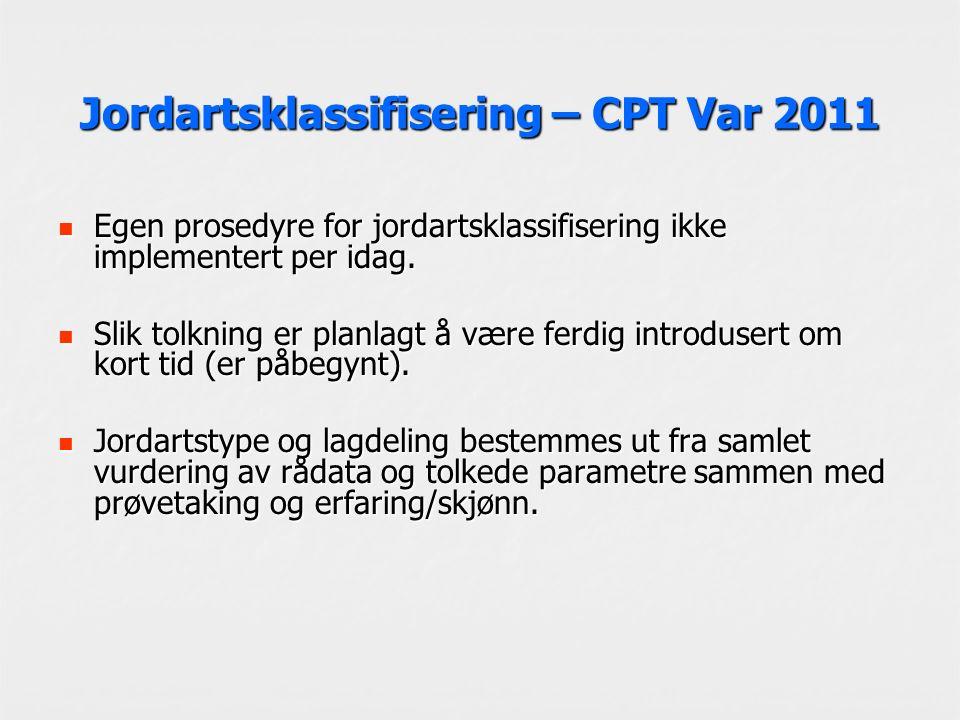 Jordartsklassifisering – CPT Var 2011 Egen prosedyre for jordartsklassifisering ikke implementert per idag. Egen prosedyre for jordartsklassifisering