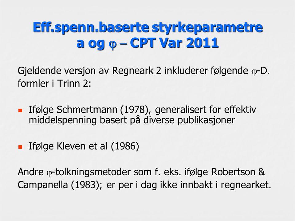 Eff.spenn.baserte styrkeparametre a og  CPT Var 2011 Gjeldende versjon av Regneark 2 inkluderer følgende  -D r formler i Trinn 2: Ifølge Schmertmann (1978), generalisert for effektiv middelspenning basert på diverse publikasjoner Ifølge Schmertmann (1978), generalisert for effektiv middelspenning basert på diverse publikasjoner Ifølge Kleven et al (1986) Ifølge Kleven et al (1986) Andre  -tolkningsmetoder som f.