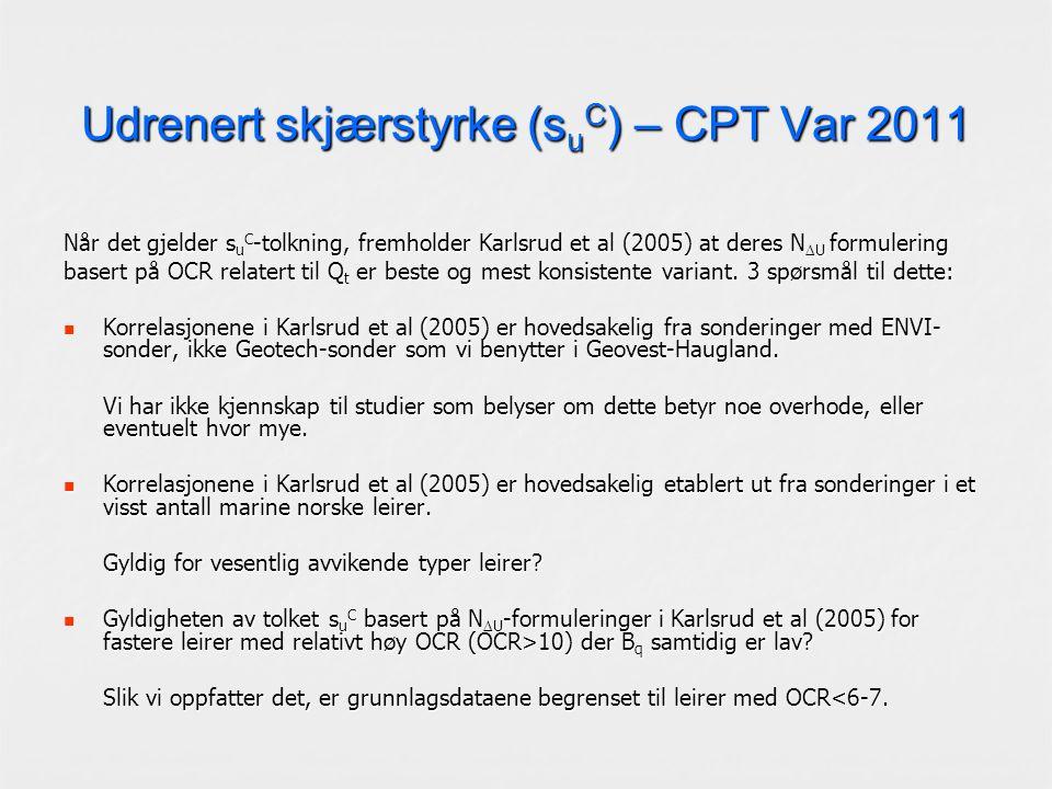 Udrenert skjærstyrke (s u C ) – CPT Var 2011 Når det gjelder s u C -tolkning, fremholder Karlsrud et al (2005) at deres N  U formulering basert på OCR relatert til Q t er beste og mest konsistente variant.