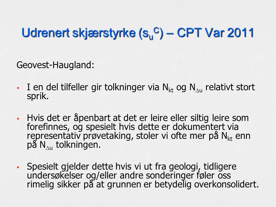 Udrenert skjærstyrke (s u C ) – CPT Var 2011 Geovest-Haugland:  I en del tilfeller gir tolkninger via N kt og N  u relativt stort sprik.