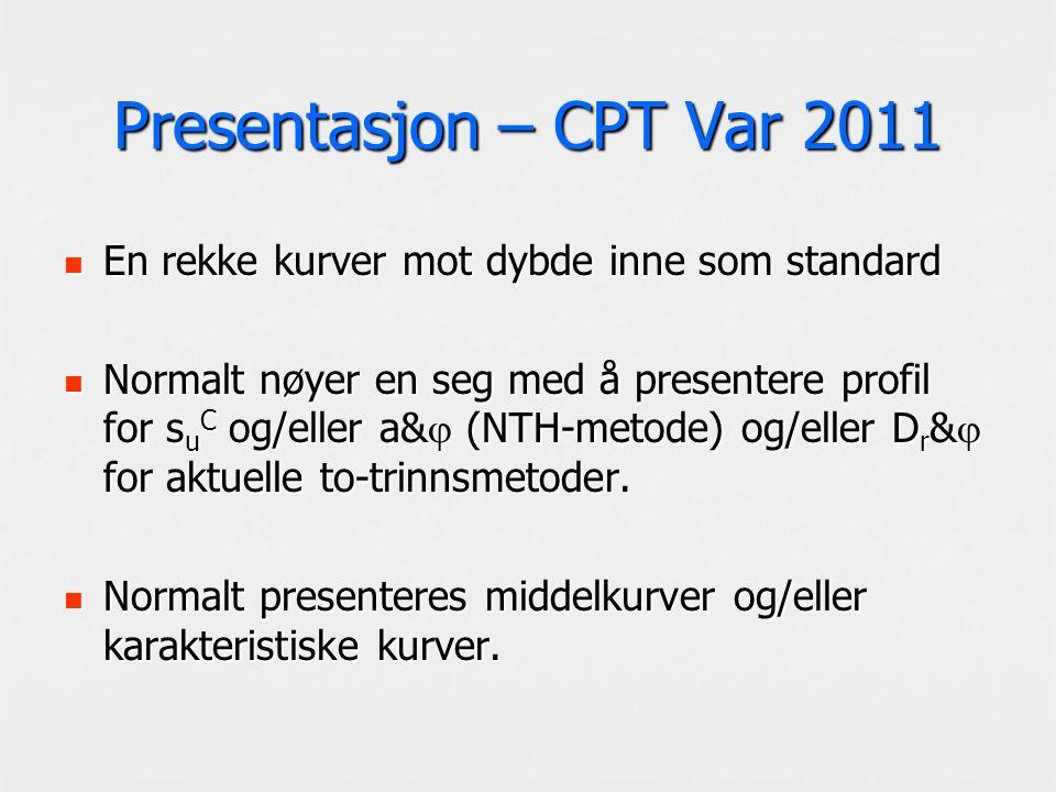 Presentasjon – CPT Var 2011 En rekke kurver mot dybde inne som standard En rekke kurver mot dybde inne som standard Normalt nøyer en seg med å presentere profil for s u C og/eller a&  (NTH-metode) og/eller D r &  for aktuelle to-trinnsmetoder.