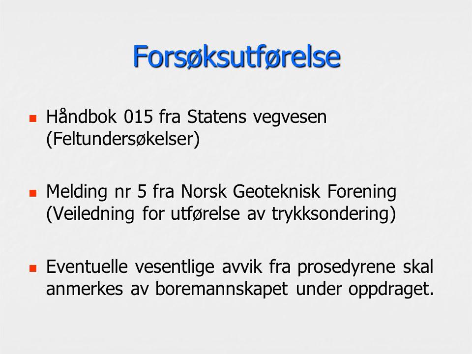 Forsøksutførelse Håndbok 015 fra Statens vegvesen (Feltundersøkelser) Håndbok 015 fra Statens vegvesen (Feltundersøkelser) Melding nr 5 fra Norsk Geot