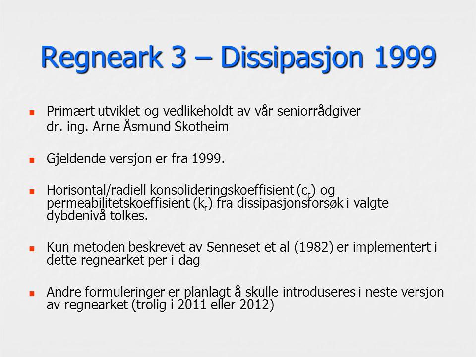 Regneark 3 – Dissipasjon 1999 Primært utviklet og vedlikeholdt av vår seniorrådgiver Primært utviklet og vedlikeholdt av vår seniorrådgiver dr. ing. A