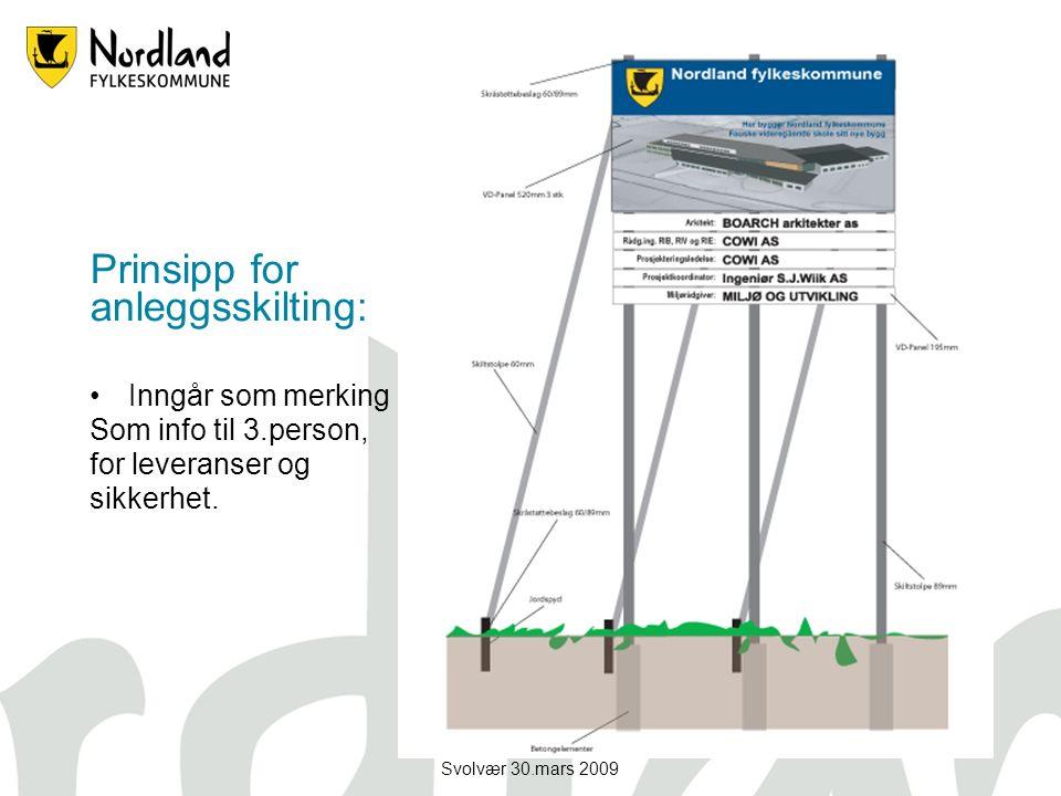Svolvær 30.mars 2009 Prinsipp for anleggsskilting: Inngår som merking Som info til 3.person, for leveranser og sikkerhet.