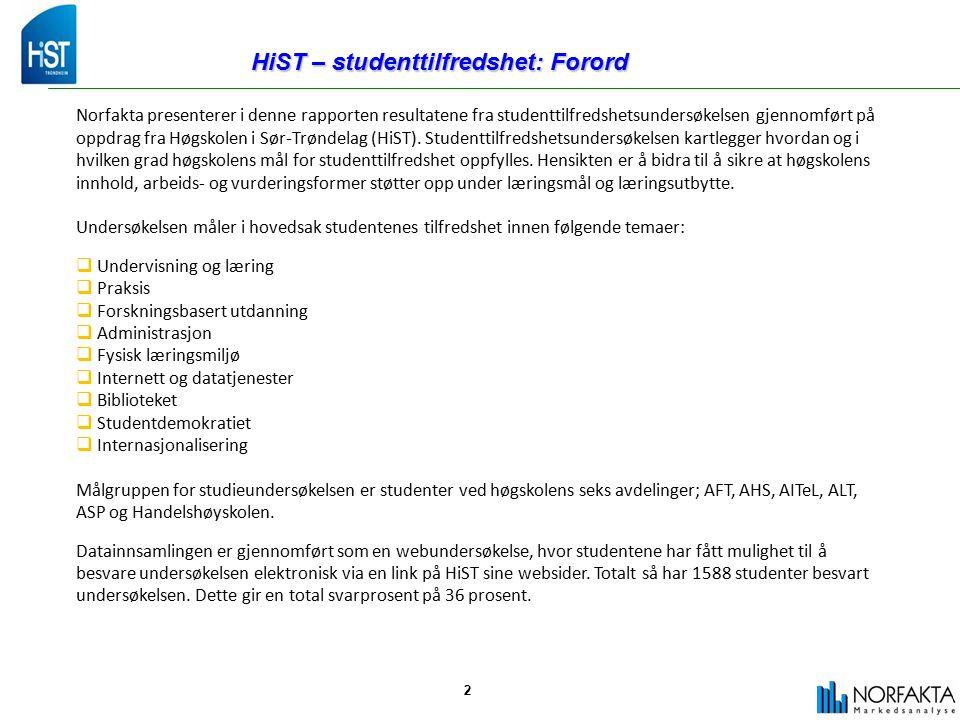 3 HiST – studenttilfredshet: Forord Tabellen nedenfor viser antall innkomne svar pr avdeling med tilhørende svarprosent.