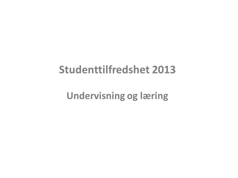 Studenttilfredshet 2013 Undervisning og læring