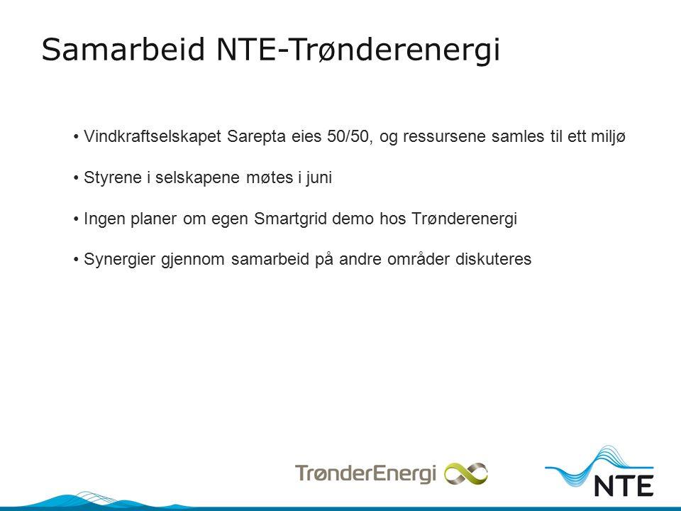 Samarbeid NTE-Trønderenergi Vindkraftselskapet Sarepta eies 50/50, og ressursene samles til ett miljø Styrene i selskapene møtes i juni Ingen planer om egen Smartgrid demo hos Trønderenergi Synergier gjennom samarbeid på andre områder diskuteres