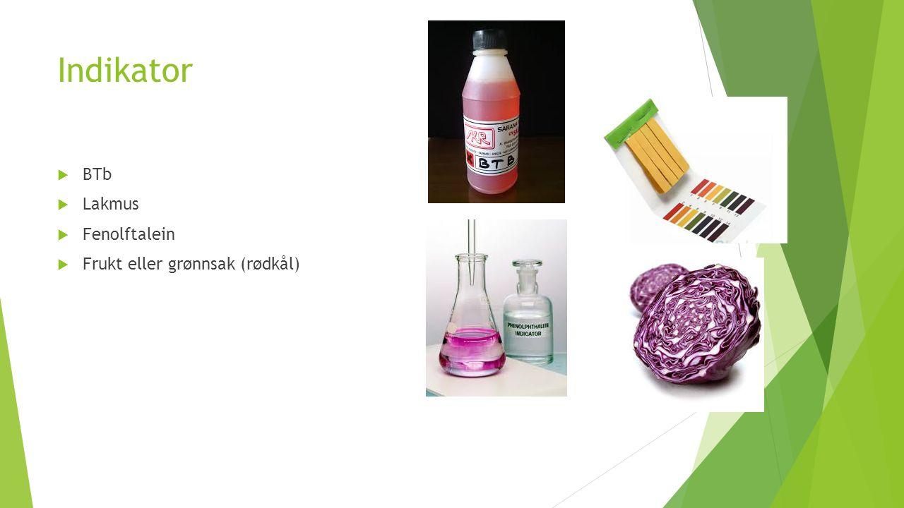 Indikator  BTb  Lakmus  Fenolftalein  Frukt eller grønnsak (rødkål)