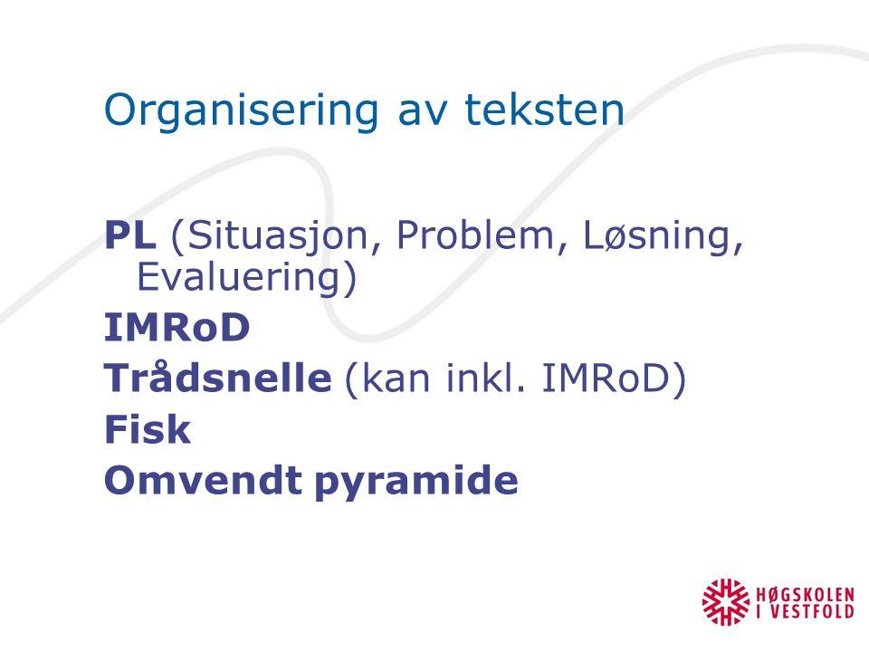 Organisering av teksten PL (Situasjon, Problem, Løsning, Evaluering) IMRoD Trådsnelle (kan inkl.