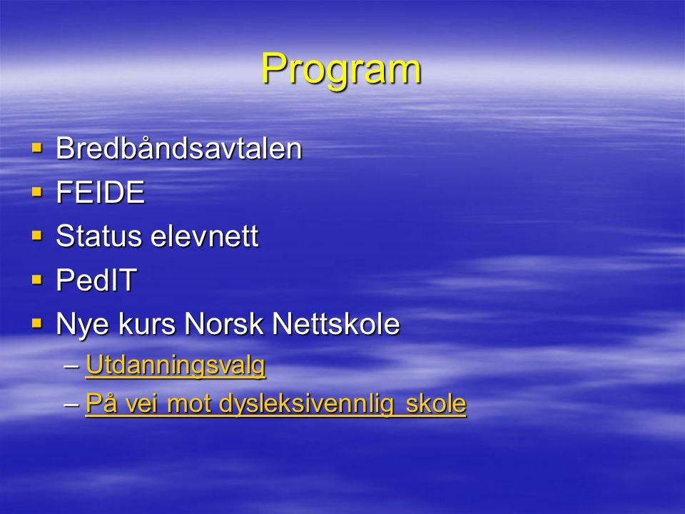 Program  Bredbåndsavtalen  FEIDE  Status elevnett  PedIT  Nye kurs Norsk Nettskole –Utdanningsvalg Utdanningsvalg –På vei mot dysleksivennlig skole På vei mot dysleksivennlig skolePå vei mot dysleksivennlig skole