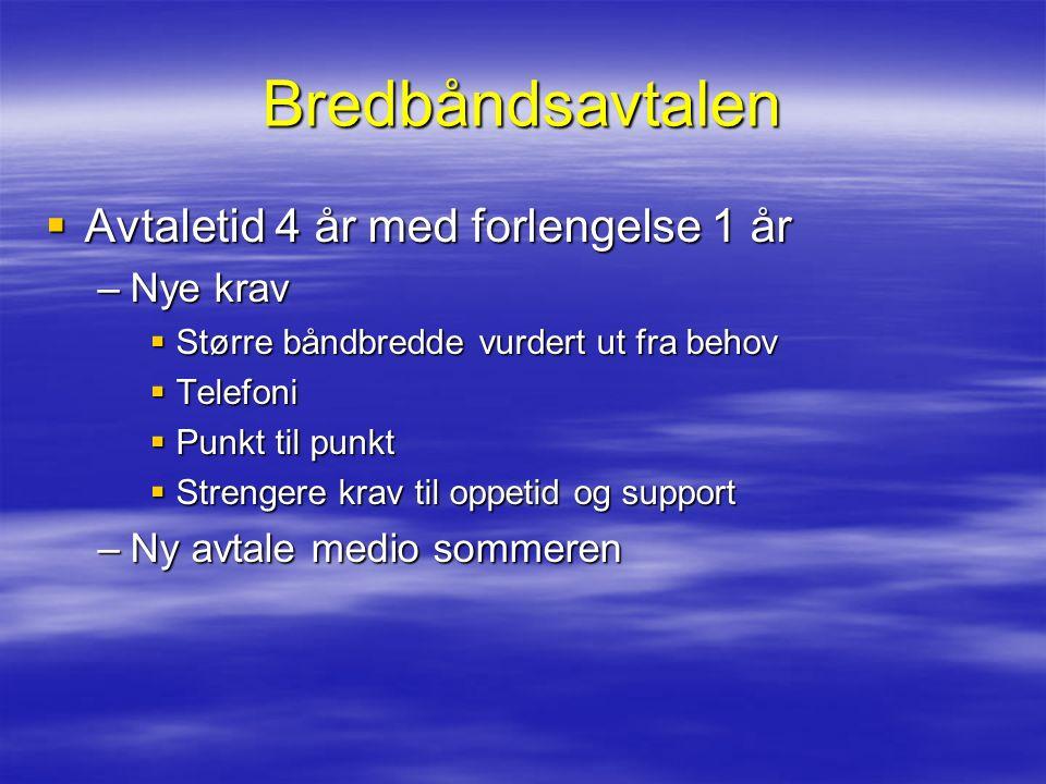 Bredbåndsavtalen  Avtaletid 4 år med forlengelse 1 år –Nye krav  Større båndbredde vurdert ut fra behov  Telefoni  Punkt til punkt  Strengere kra