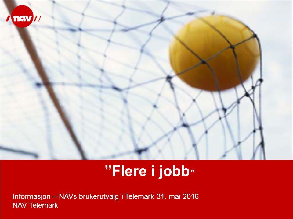 """NAV, 25.09.2016Side 1 """"Flere i jobb """" Informasjon – NAVs brukerutvalg i Telemark 31. mai 2016 NAV Telemark"""