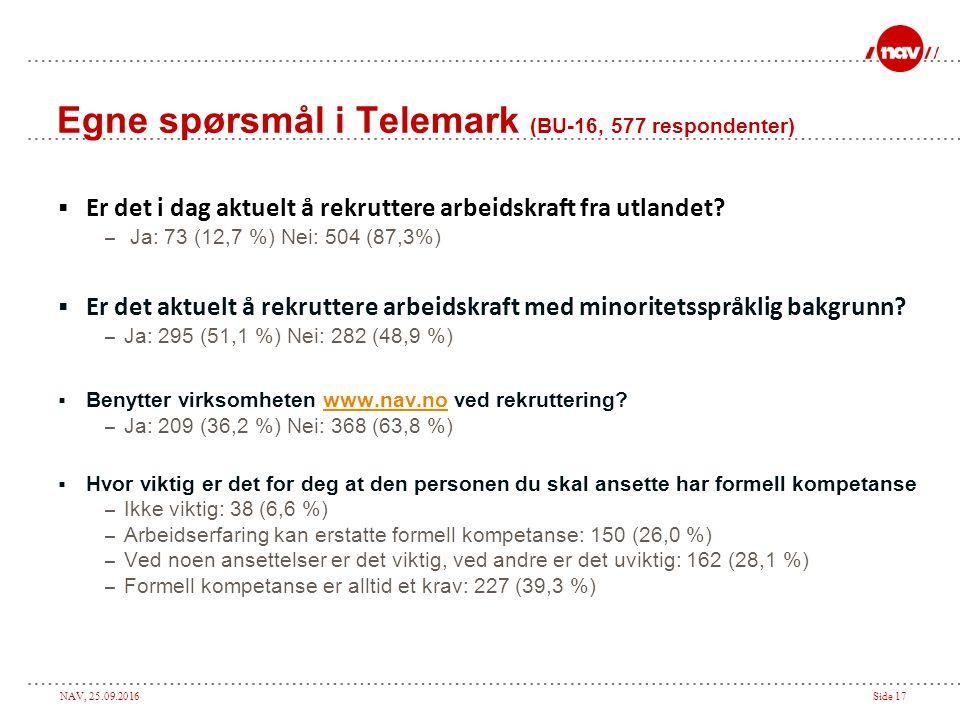 NAV, 25.09.2016Side 17 Egne spørsmål i Telemark (BU-16, 577 respondenter)  Er det i dag aktuelt å rekruttere arbeidskraft fra utlandet? – Ja: 73 (12,