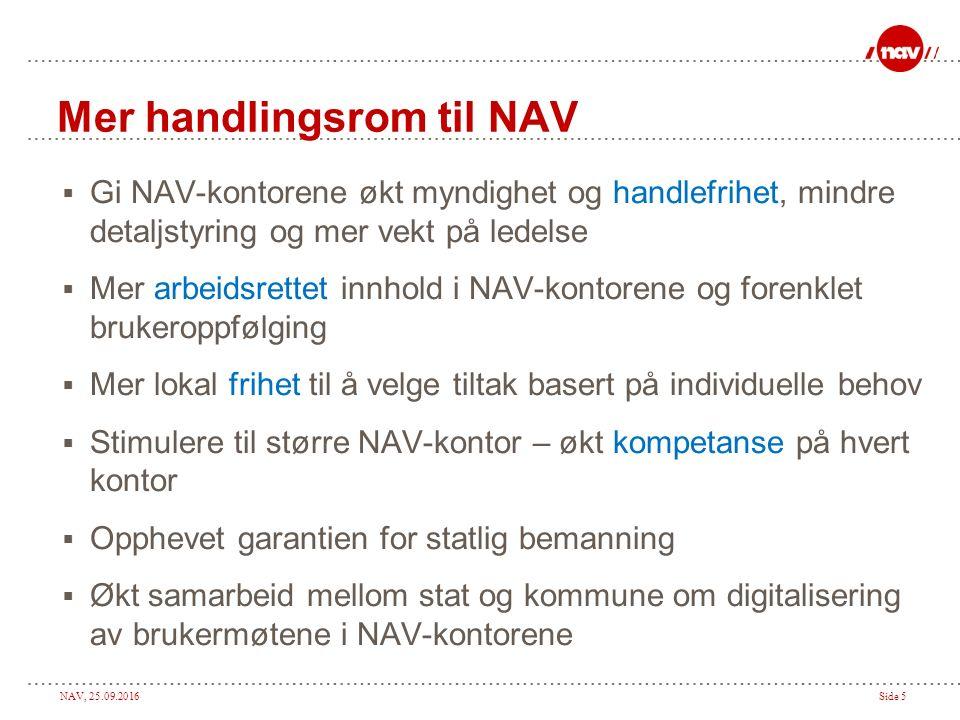 NAV, 25.09.2016Side 5 Mer handlingsrom til NAV  Gi NAV-kontorene økt myndighet og handlefrihet, mindre detaljstyring og mer vekt på ledelse  Mer arb