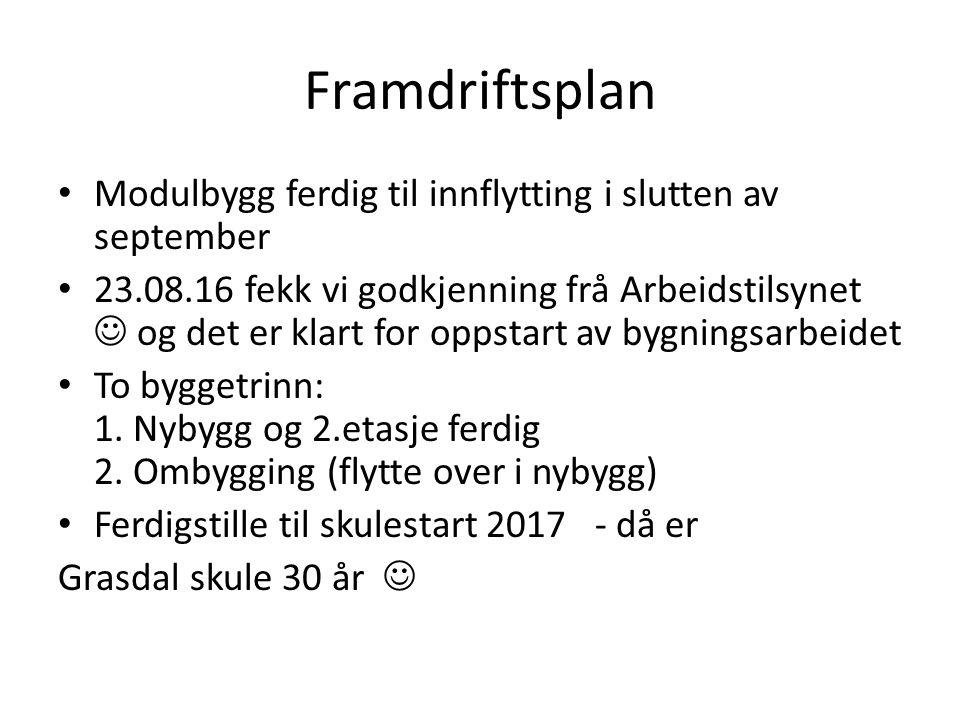 Framdriftsplan Modulbygg ferdig til innflytting i slutten av september 23.08.16 fekk vi godkjenning frå Arbeidstilsynet og det er klart for oppstart a