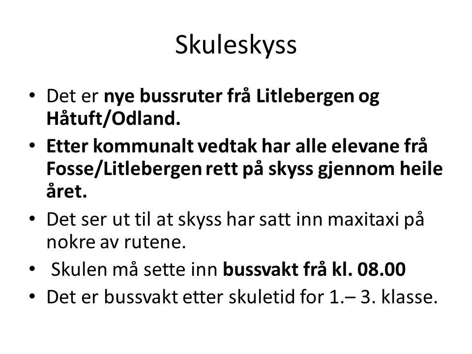 Skuleskyss Det er nye bussruter frå Litlebergen og Håtuft/Odland. Etter kommunalt vedtak har alle elevane frå Fosse/Litlebergen rett på skyss gjennom