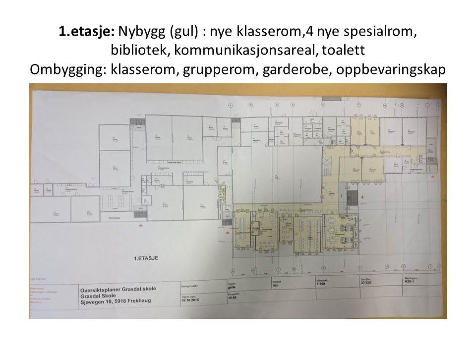 1.etasje: Nybygg (gul) : nye klasserom,4 nye spesialrom, bibliotek, kommunikasjonsareal, toalett Ombygging: klasserom, grupperom, garderobe, oppbevari