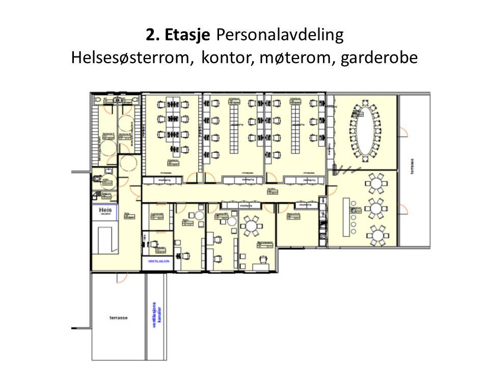 2. Etasje Personalavdeling Helsesøsterrom, kontor, møterom, garderobe