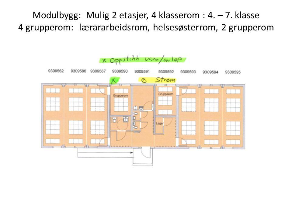 Modulbygg: Mulig 2 etasjer, 4 klasserom : 4. – 7. klasse 4 grupperom: lærararbeidsrom, helsesøsterrom, 2 grupperom