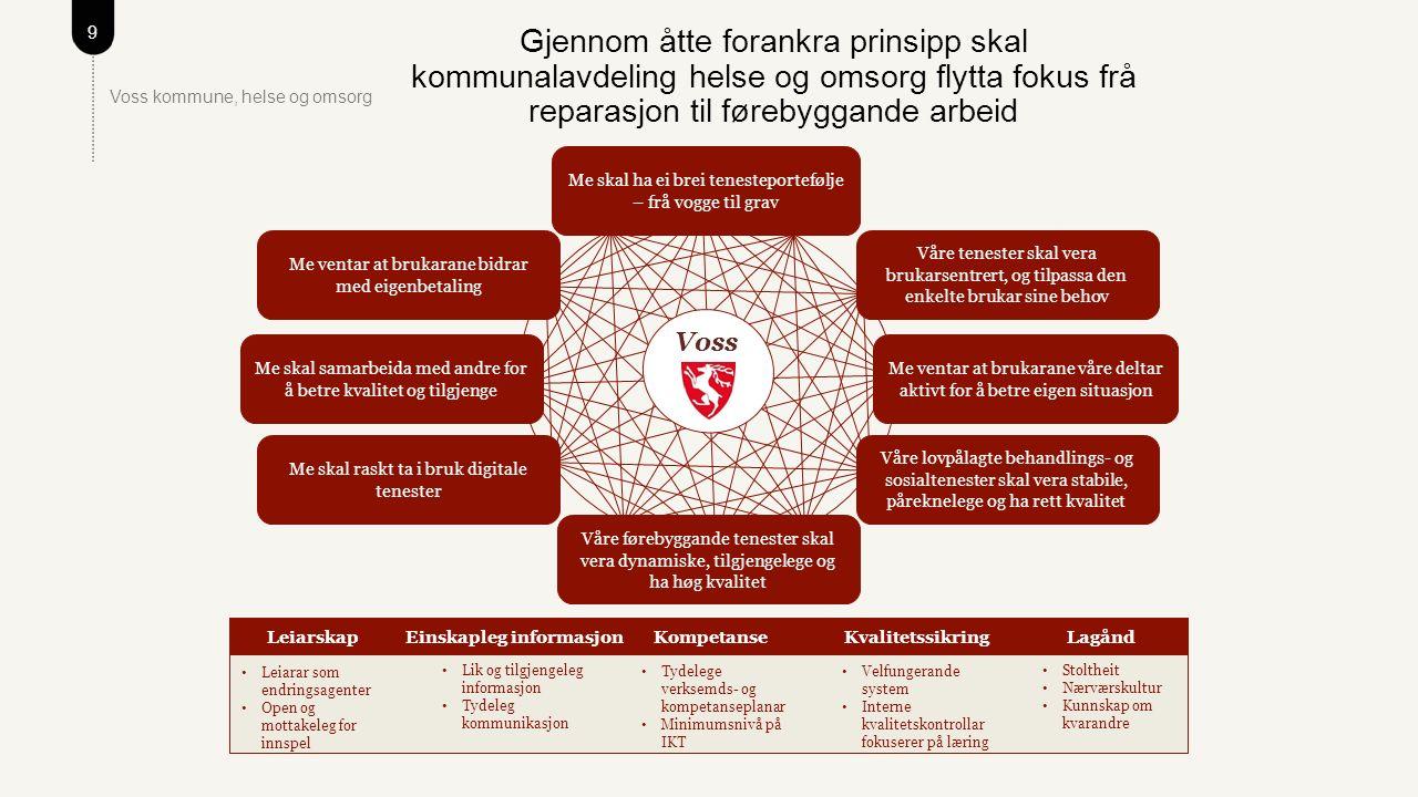 10 Voss kommune, helse og omsorg Målsettingar og tiltak for 2016 – kva gjer me i dag.