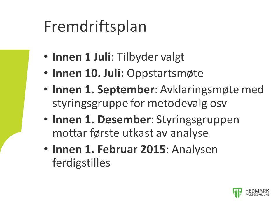 Innen 1 Juli: Tilbyder valgt Innen 10. Juli: Oppstartsmøte Innen 1.