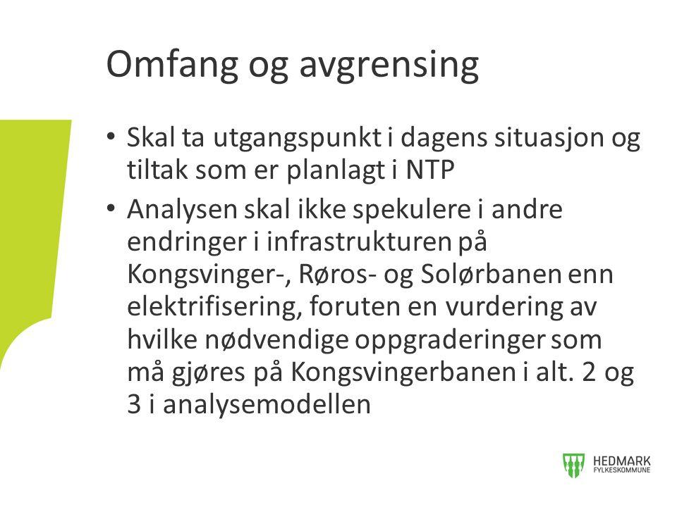 Skal ta utgangspunkt i dagens situasjon og tiltak som er planlagt i NTP Analysen skal ikke spekulere i andre endringer i infrastrukturen på Kongsvinger-, Røros- og Solørbanen enn elektrifisering, foruten en vurdering av hvilke nødvendige oppgraderinger som må gjøres på Kongsvingerbanen i alt.