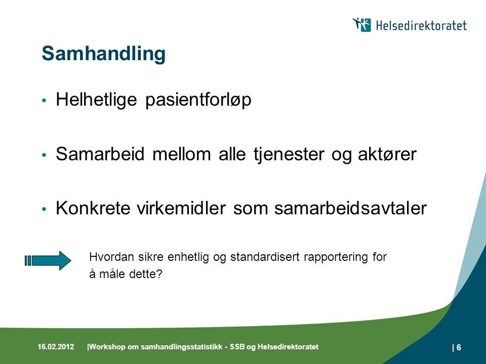 16.02.2012|Workshop om samhandlingsstatistikk - SSB og Helsedirektoratet | 6 Samhandling Helhetlige pasientforløp Samarbeid mellom alle tjenester og a