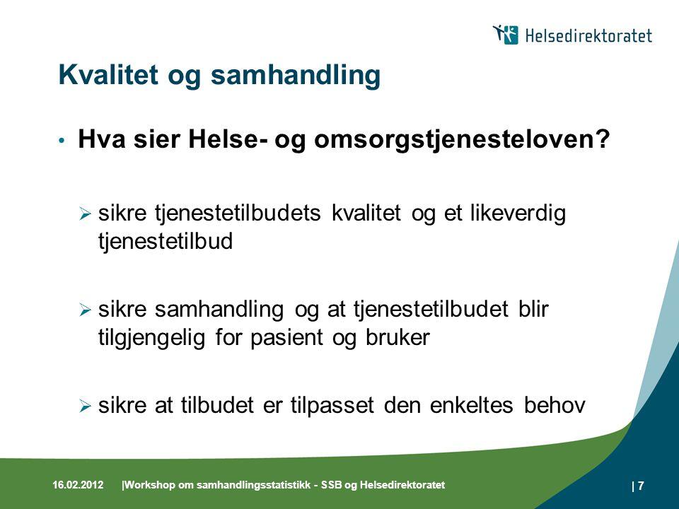 16.02.2012|Workshop om samhandlingsstatistikk - SSB og Helsedirektoratet | 7 Kvalitet og samhandling Hva sier Helse- og omsorgstjenesteloven?  sikre