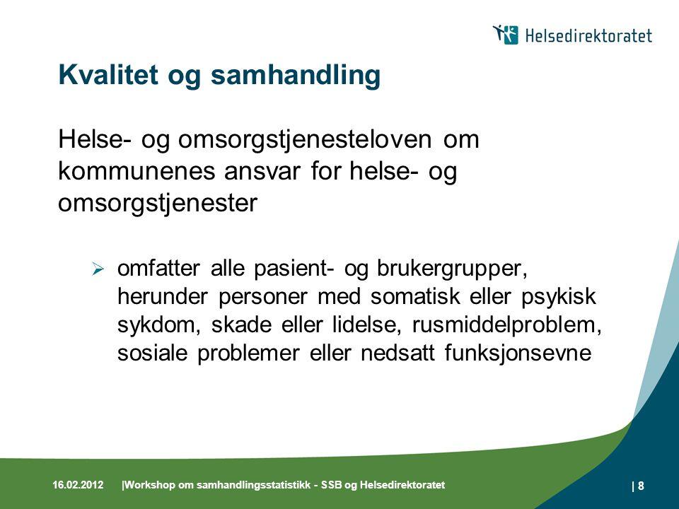 16.02.2012 Workshop om samhandlingsstatistikk - SSB og Helsedirektoratet   9 Hvordan måle kvalitet og samhandling.