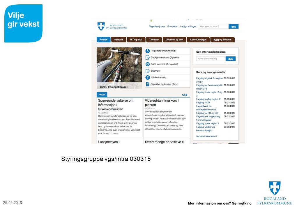 25.09.2016 Styringsgruppe vgs/intra 030315