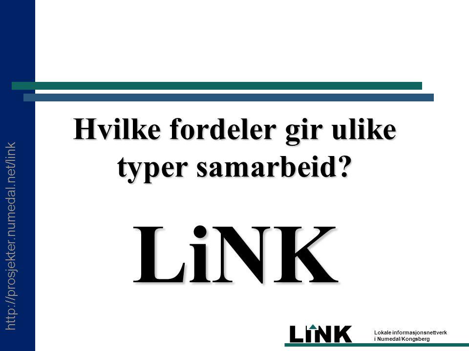 http://prosjekter.numedal.net/link LINK Lokale informasjonsnettverk i Numedal/Kongsberg Hvilke fordeler gir ulike typer samarbeid.