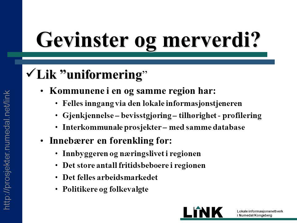 http://prosjekter.numedal.net/link LINK Lokale informasjonsnettverk i Numedal/Kongsberg Gevinster og merverdi.