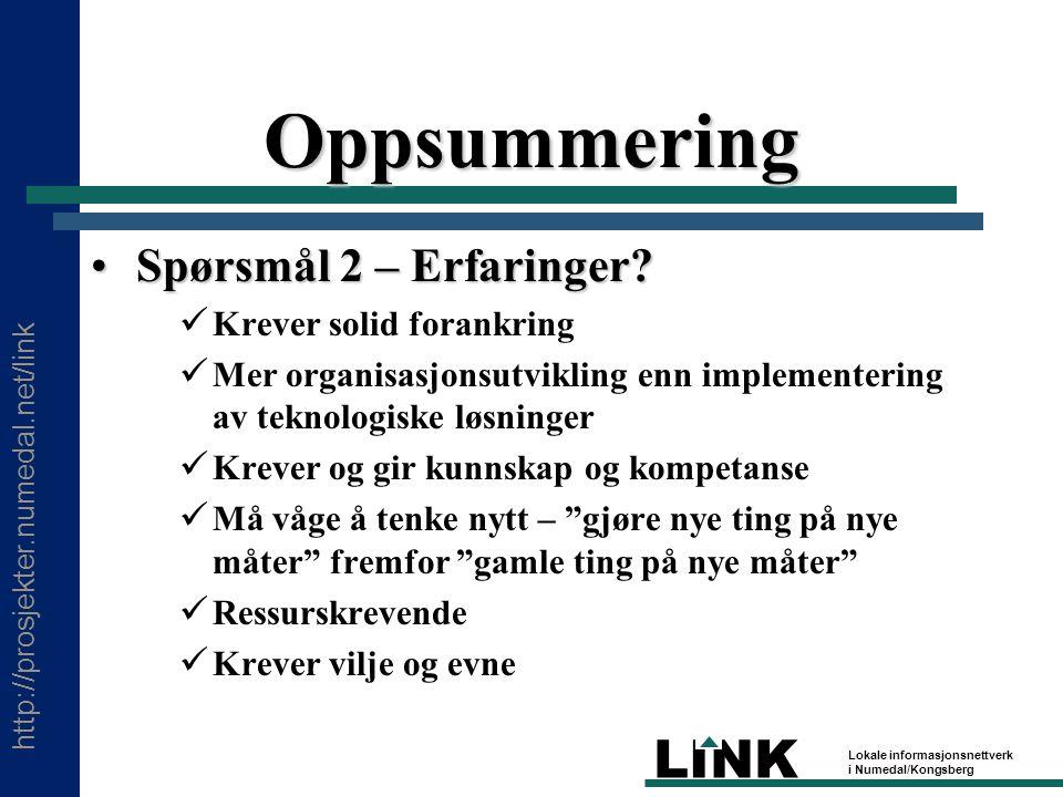 http://prosjekter.numedal.net/link LINK Lokale informasjonsnettverk i Numedal/Kongsberg Oppsummering Spørsmål 2 – Erfaringer Spørsmål 2 – Erfaringer.